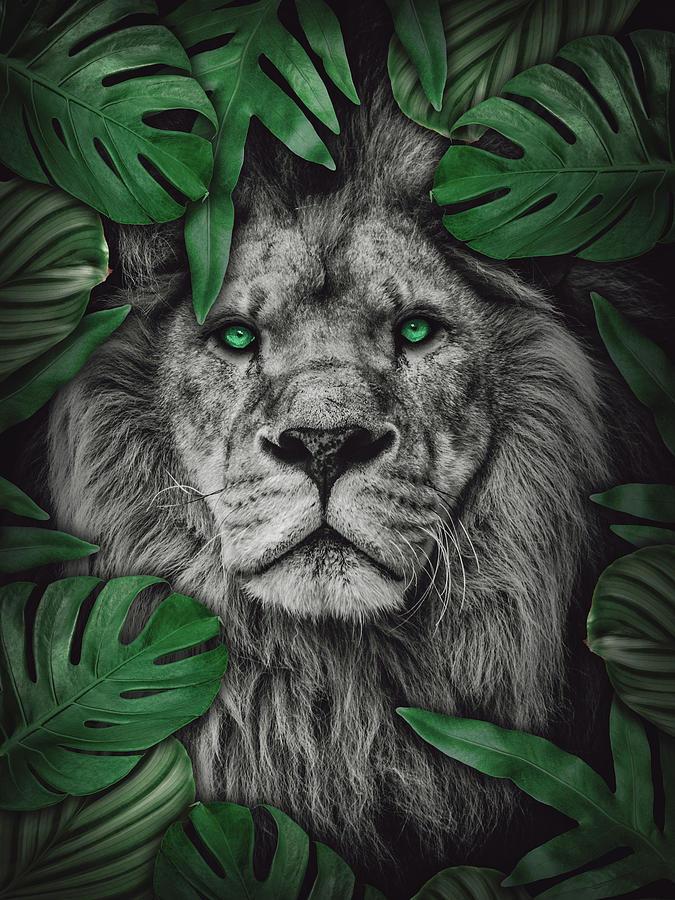 Tropical Lion Green Leaves Digital Art