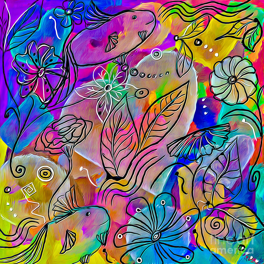 Fish Mixed Media - Tropical Love by Lauries Intuitive