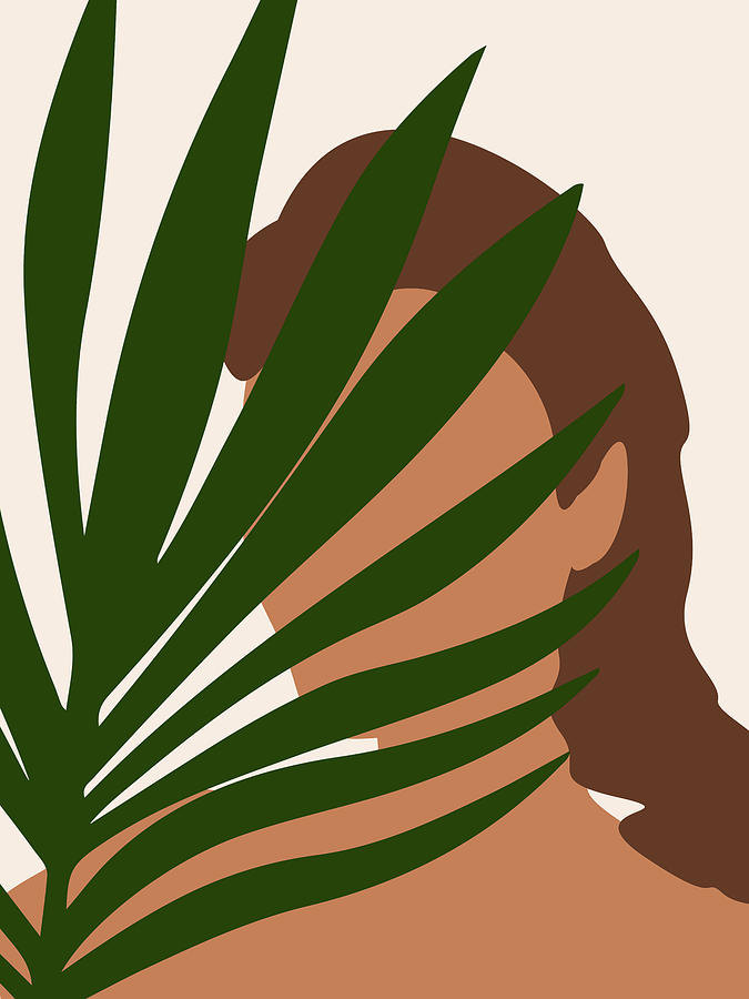 Tropical Reverie 1 - Modern, Minimal Illustration - Girl and Palm Leaves - Aesthetic Tropical Vibes by Studio Grafiikka