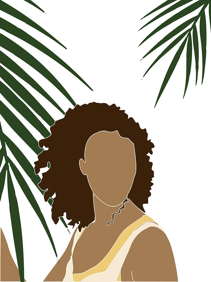 Tropical Reverie 10 - Modern, Minimal Illustration - Girl and Palm Leaves - Aesthetic Tropical Vibes by Studio Grafiikka