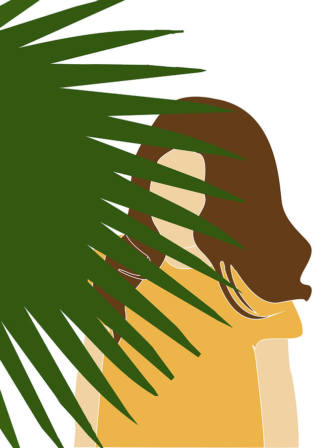 Tropical Reverie 11 - Modern, Minimal Illustration - Girl and Palm Leaves - Aesthetic Tropical Vibes by Studio Grafiikka