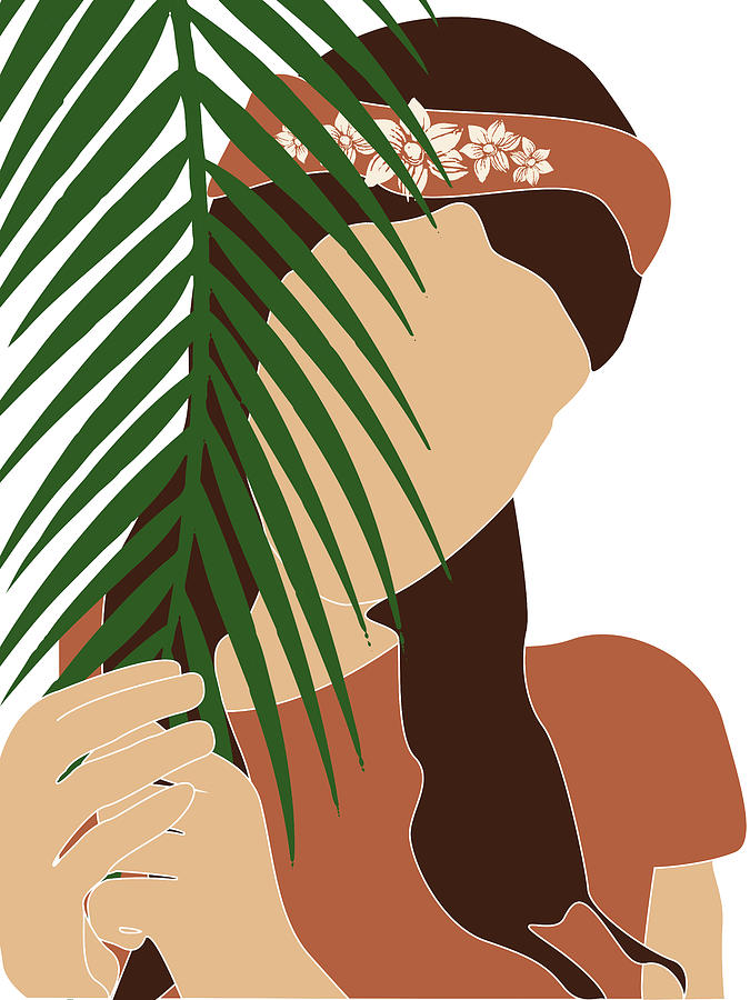 Tropical Reverie 12 - Modern, Minimal Illustration - Girl and Palm Leaves - Aesthetic Tropical Vibes by Studio Grafiikka