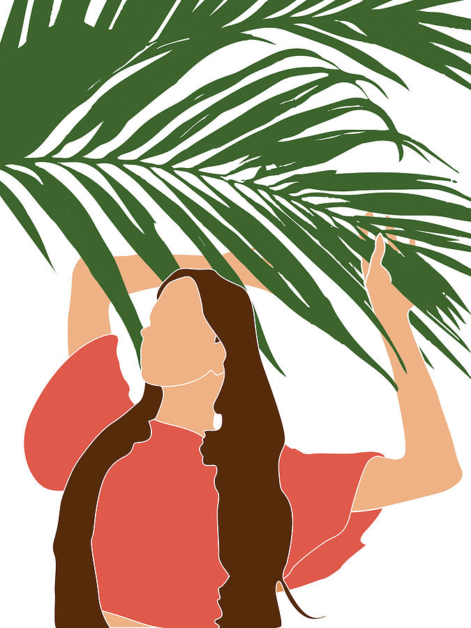 Tropical Reverie 13 - Modern, Minimal Illustration - Girl and Palm Leaves - Aesthetic Tropical Vibes by Studio Grafiikka
