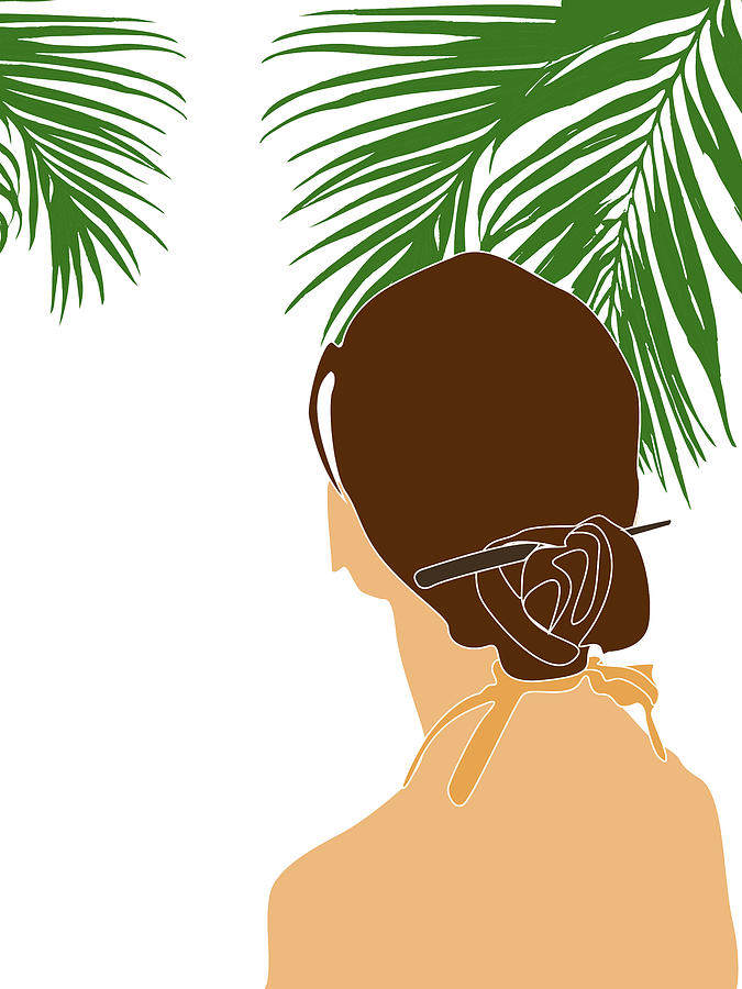 Tropical Reverie 14 - Modern, Minimal Illustration - Girl and Palm Leaves - Aesthetic Tropical Vibes by Studio Grafiikka