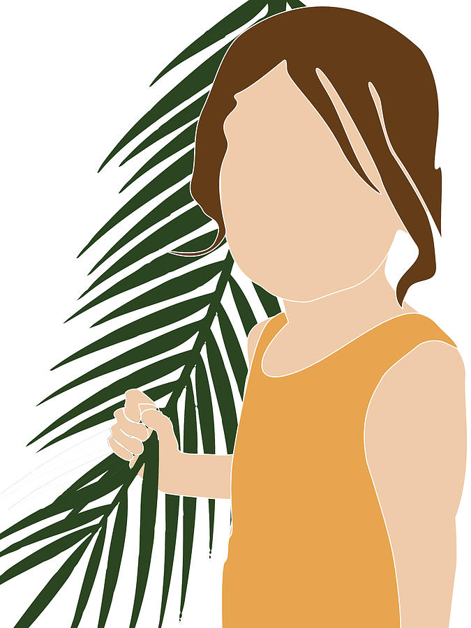 Tropical Reverie 15 - Modern, Minimal Illustration - Girl and Palm Leaves - Aesthetic Tropical Vibes by Studio Grafiikka