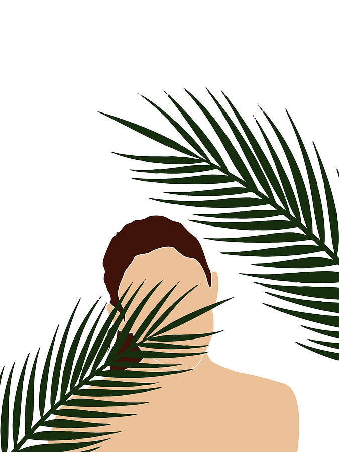 Tropical Reverie 16 - Modern, Minimal Illustration - Girl and Palm Leaves - Aesthetic Tropical Vibes by Studio Grafiikka