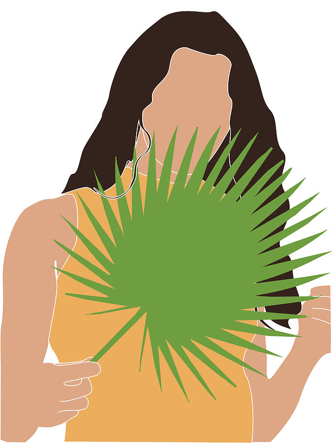 Tropical Reverie 17 - Modern, Minimal Illustration - Girl and Palm Leaves - Aesthetic Tropical Vibes by Studio Grafiikka