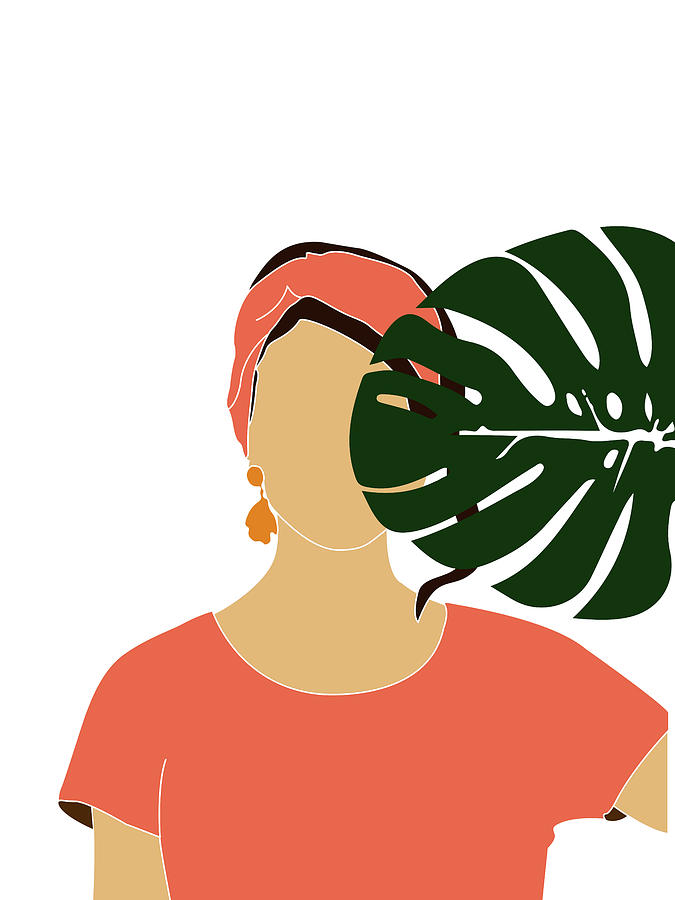 Tropical Reverie 19 - Modern, Minimal Illustration - Girl and Palm Leaves - Aesthetic Tropical Vibes by Studio Grafiikka