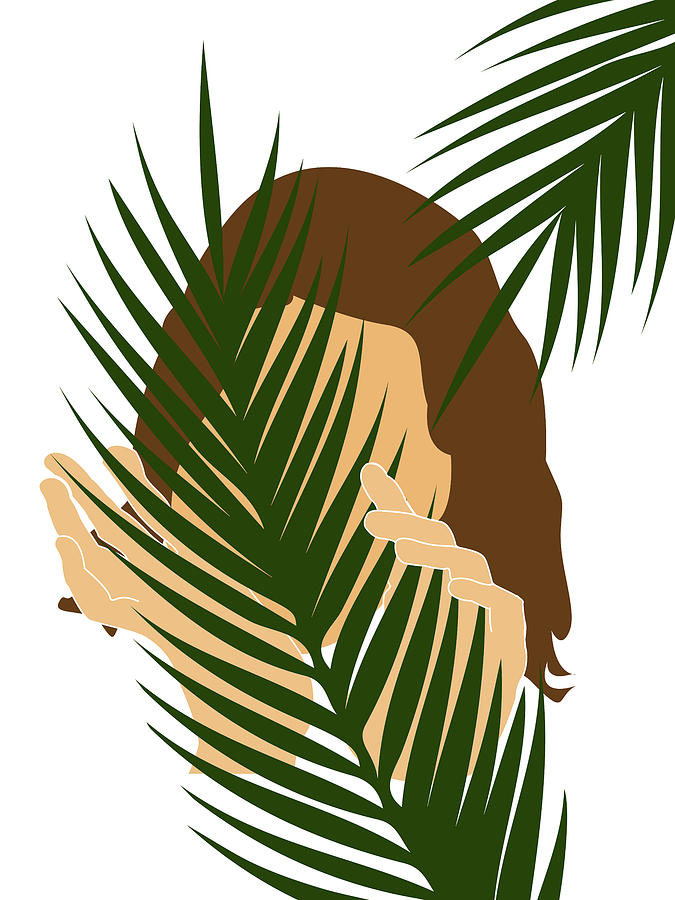 Tropical Reverie 2 - Modern, Minimal Illustration - Girl and Palm Leaves - Aesthetic Tropical Vibes by Studio Grafiikka