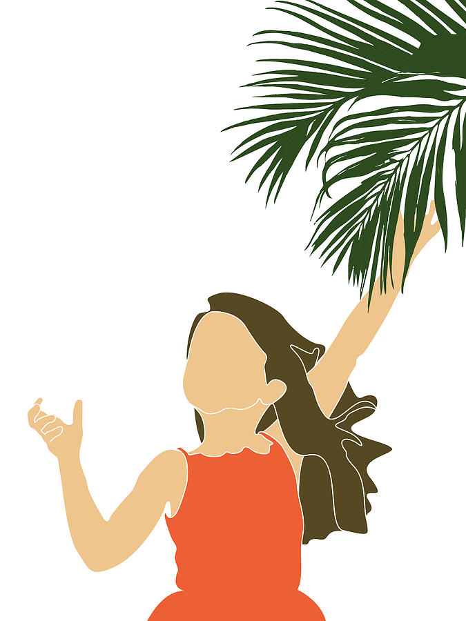 Tropical Reverie 20 - Modern, Minimal Illustration - Girl and Palm Leaves - Aesthetic Tropical Vibes by Studio Grafiikka