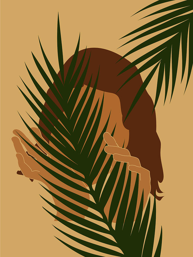 Tropical Reverie - Modern Minimal Illustration 03 - Girl With Palm Leaf - Tropical Aesthetic - Brown Mixed Media