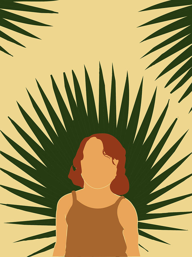 Tropical Reverie - Modern Minimal Illustration 02 - Girl With Palm Leaf - Tropical Aesthetic - Brown Mixed Media