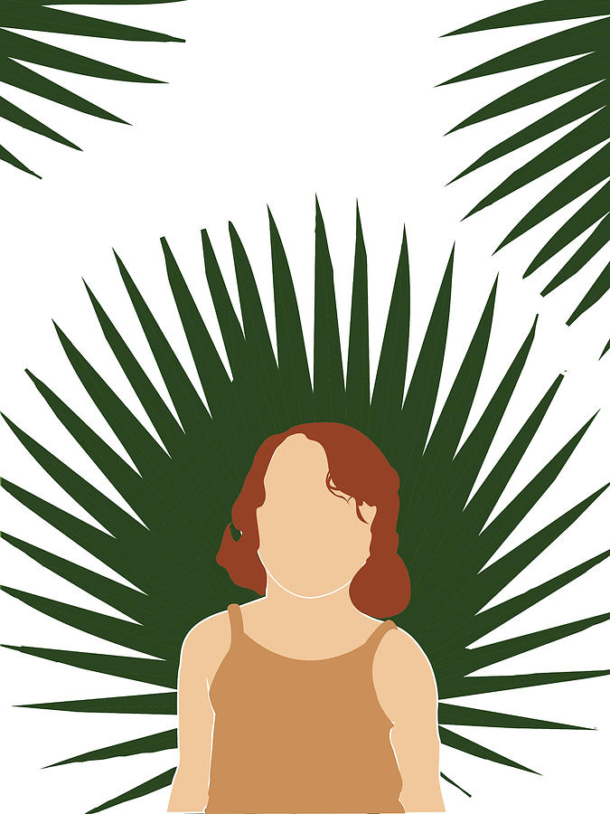 Tropical Reverie 3 - Modern, Minimal Illustration - Girl and Palm Leaves - Aesthetic Tropical Vibes by Studio Grafiikka