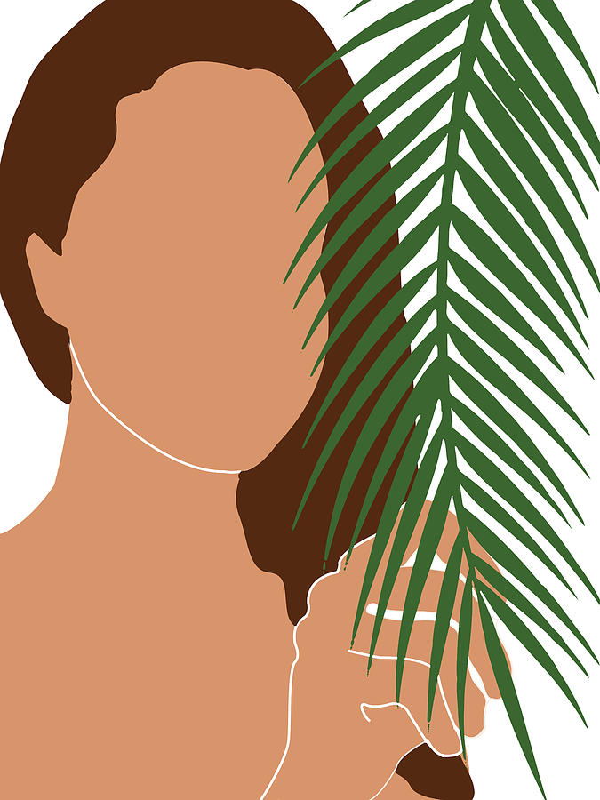 Tropical Reverie 4 - Modern, Minimal Illustration - Girl and Palm Leaves - Aesthetic Tropical Vibes by Studio Grafiikka