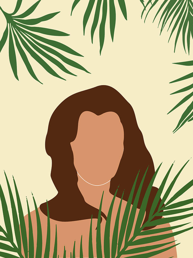 Tropical Reverie 5 - Modern, Minimal Illustration - Girl and Palm Leaves - Aesthetic Tropical Vibes by Studio Grafiikka