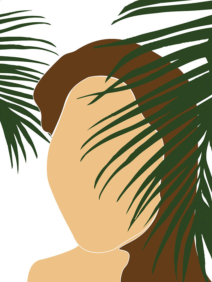 Tropical Reverie 7 - Modern, Minimal Illustration - Girl and Palm Leaves - Aesthetic Tropical Vibes by Studio Grafiikka