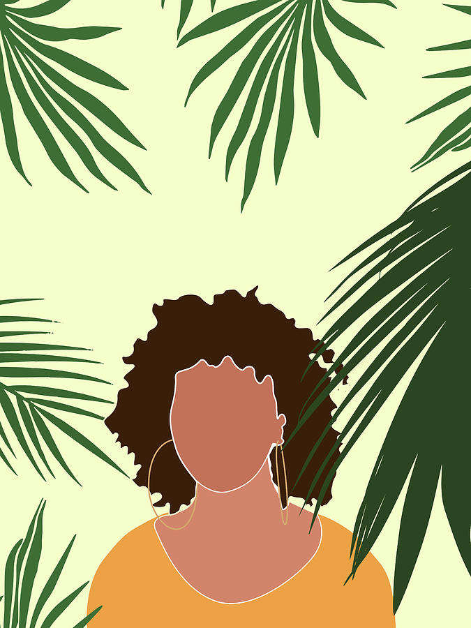 Tropical Reverie 8 - Modern, Minimal Illustration - Girl and Palm Leaves - Aesthetic Tropical Vibes by Studio Grafiikka