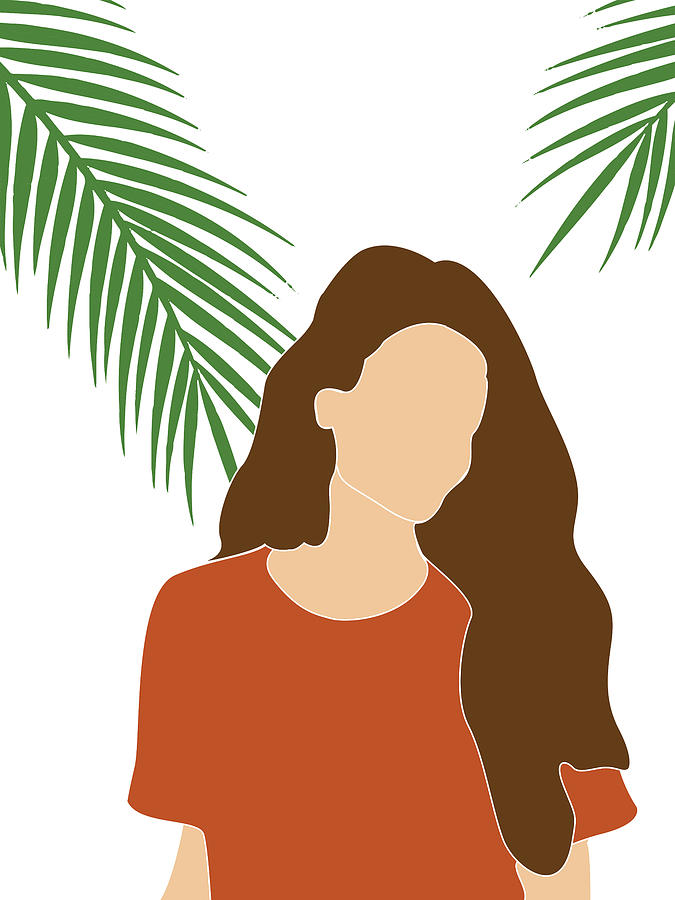 Tropical Reverie 9 - Modern, Minimal Illustration - Girl and Palm Leaves - Aesthetic Tropical Vibes by Studio Grafiikka