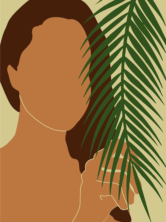 Tropical Reverie - Modern Minimal Illustration 01 - Girl With Palm Leaf - Tropical Aesthetic - Brown Mixed Media