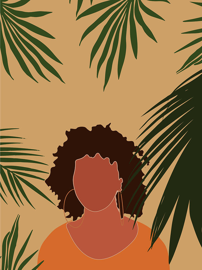 Tropical Reverie - Modern Minimal Illustration 06 - Girl, Palm Leaves - Tropical Aesthetic - Brown Mixed Media
