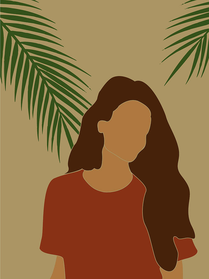 Tropical Reverie - Modern Minimal Illustration 07 - Girl, Palm Leaves - Tropical Aesthetic - Brown Mixed Media