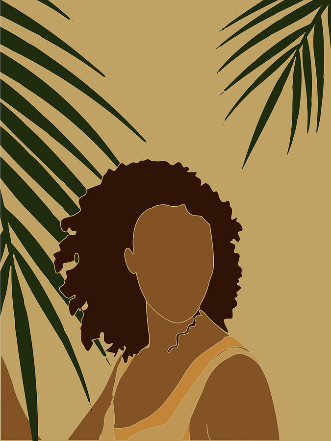 Tropical Reverie - Modern Minimal Illustration 08 - Girl, Palm Leaves - Tropical Aesthetic - Brown Mixed Media
