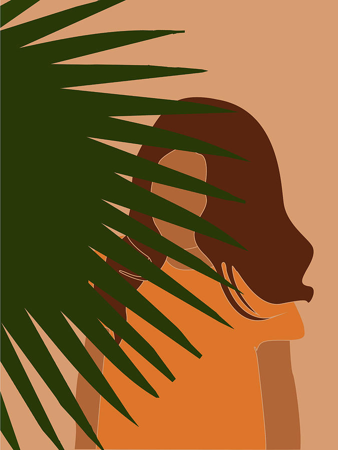 Tropical Reverie - Modern Minimal Illustration 09 - Girl, Palm Leaves - Tropical Aesthetic - Brown by Studio Grafiikka