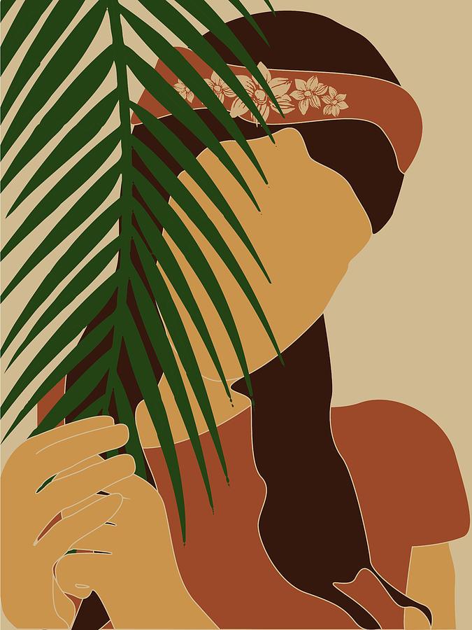 Tropical Reverie - Modern Minimal Illustration 10 - Girl, Palm Leaves - Tropical Aesthetic - Brown by Studio Grafiikka