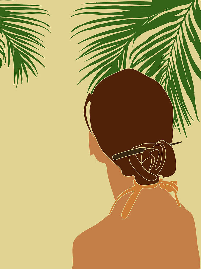 Tropical Reverie Modern Minimal Illustration 12 Girl Palm Leaves Tropical Aesthetic Brown Mixed Media By Studio Grafiikka