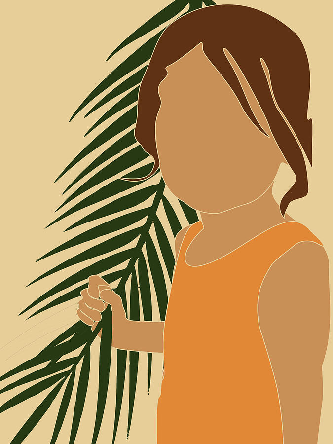 Tropical Reverie - Modern Minimal Illustration 13 - Girl, Palm Leaves - Tropical Aesthetic - Brown Mixed Media