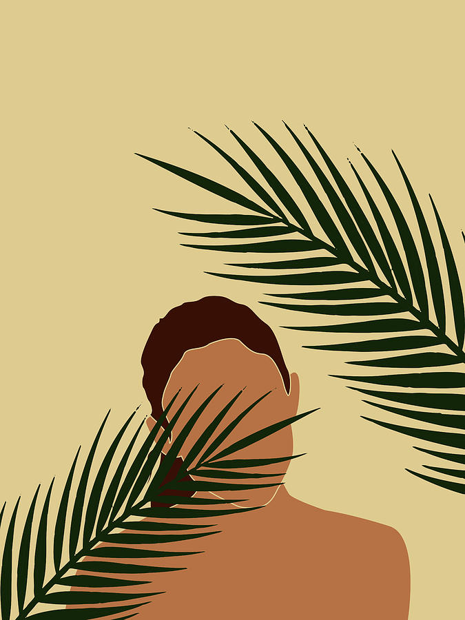 Tropical Reverie - Modern Minimal Illustration 14 - Girl, Palm Leaves - Tropical Aesthetic - Brown Mixed Media
