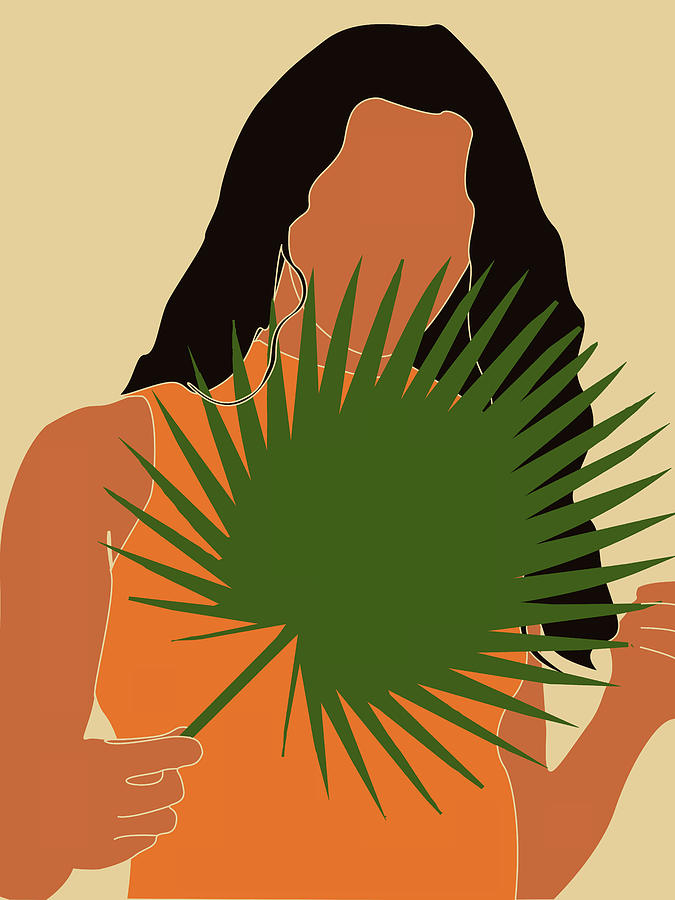 Tropical Reverie - Modern Minimal Illustration 15 - Girl, Palm Leaves - Tropical Aesthetic - Brown Mixed Media