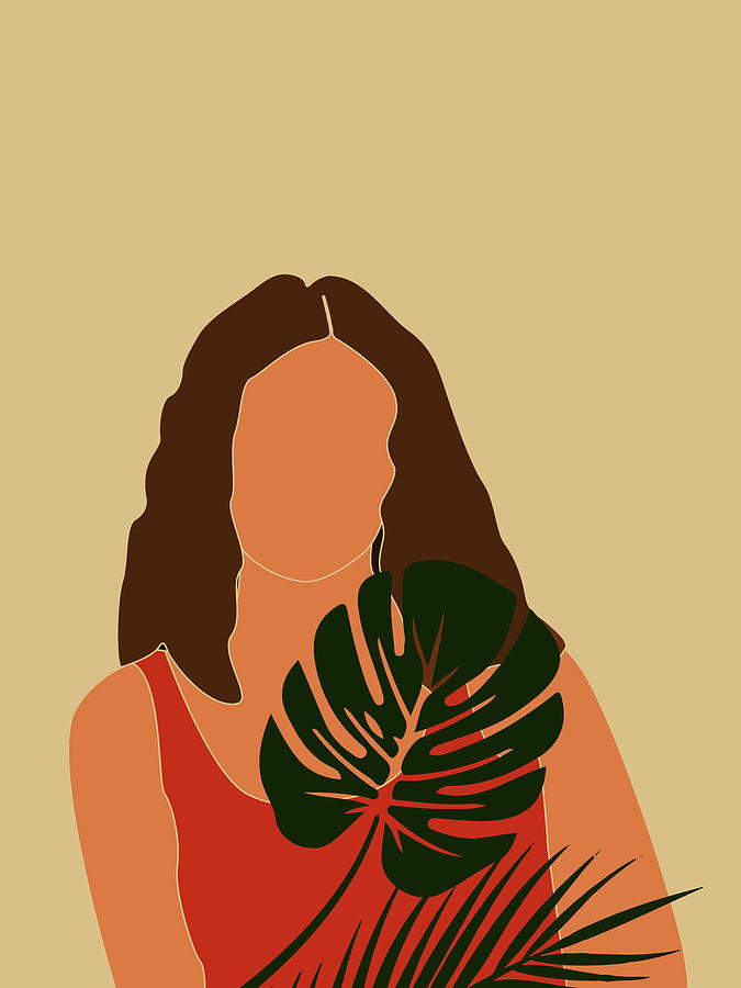 Tropical Reverie - Modern Minimal Illustration 16 - Girl, Monstera Leaf - Tropical Aesthetic - Brown Mixed Media