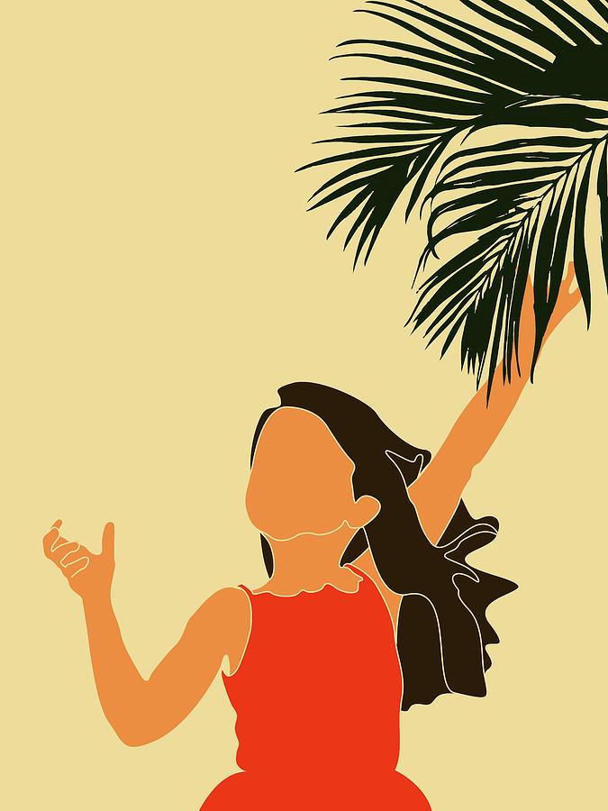 Tropical Reverie - Modern Minimal Illustration 18 - Little Girl, Palm Leaf - Tropical Aesthetic by Studio Grafiikka