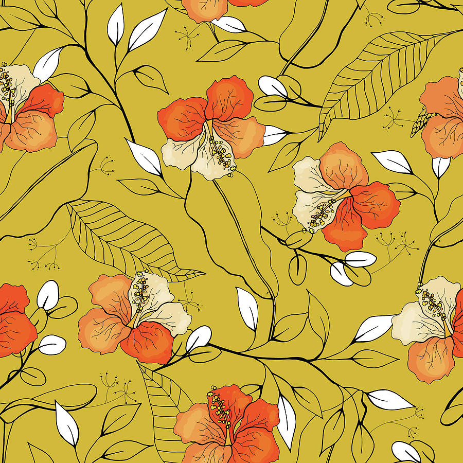 Tropical Seamless Flower And Leaves Pattern Drawing