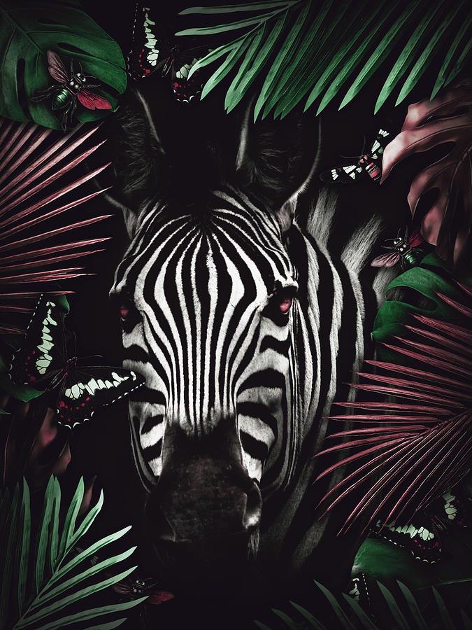 Tropical Zebra Digital Art