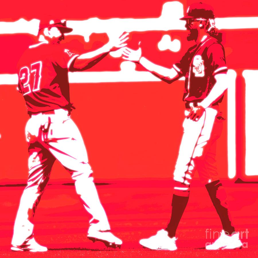 Mike Trout Painting - Trout and Tatis by Jack Bunds