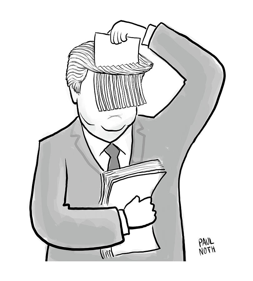 Trump Shred Drawing by Paul Noth