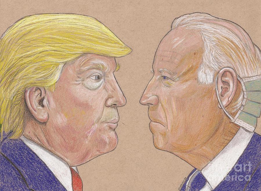 Trump vs Biden Drawing by Scott Emerling