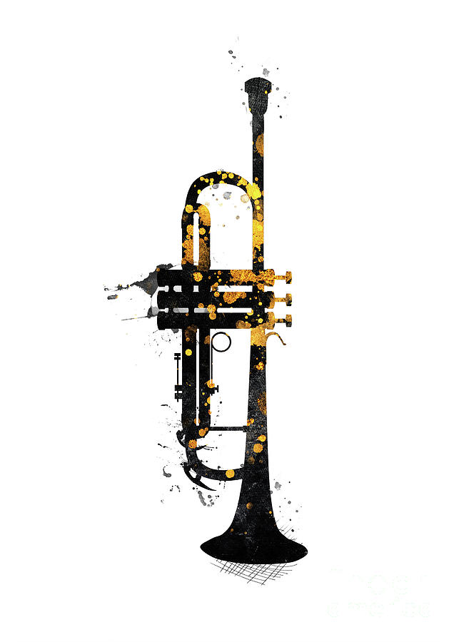 Trumpet #trumpet Music Art Gold And Black Digital Art