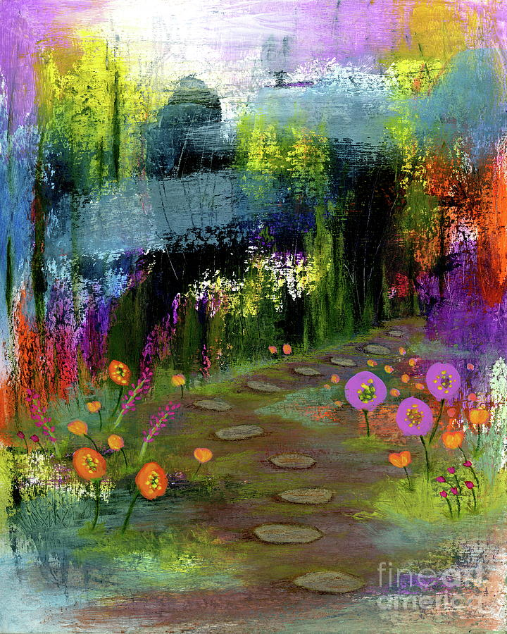 Abstract Landscape Painting - Trusting My Instincts 2, Abstract Landscape Flowers Painting by Itaya Lightbourne