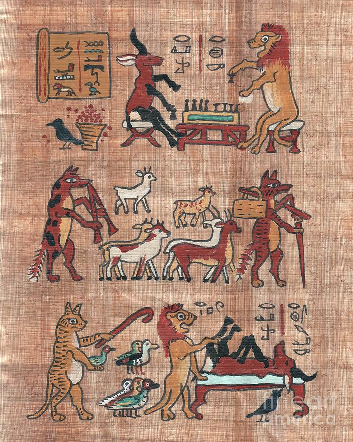 Truthful Lion And Darkness Bird In The Senet Game Painting