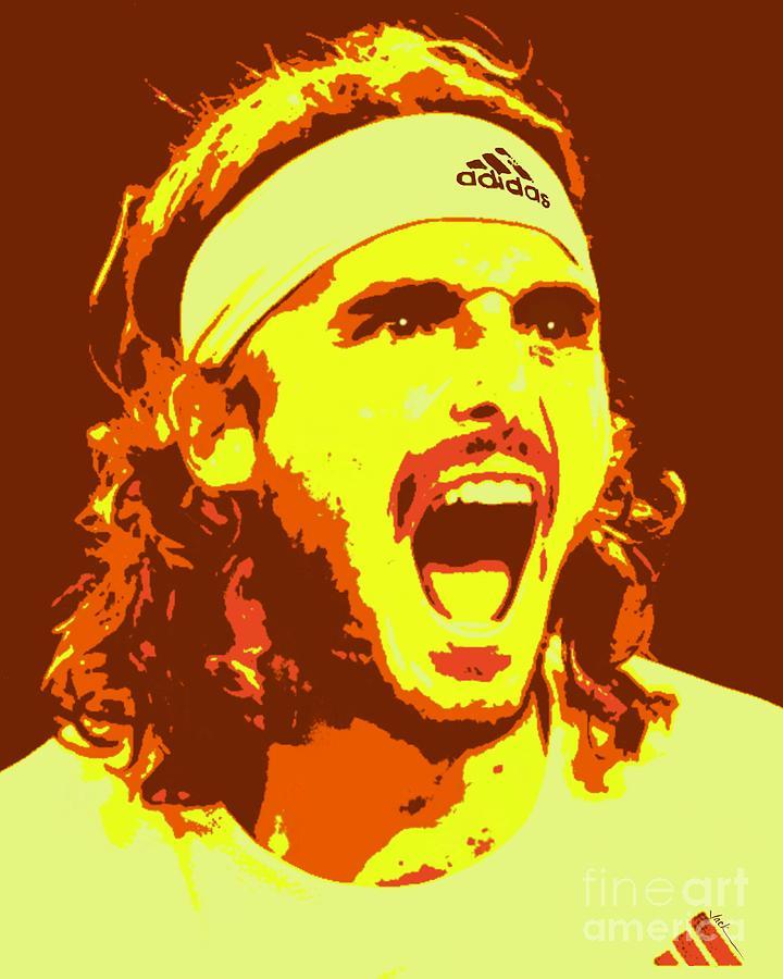 Stefanos Painting - Tsitsipas Australian Open by Jack Bunds