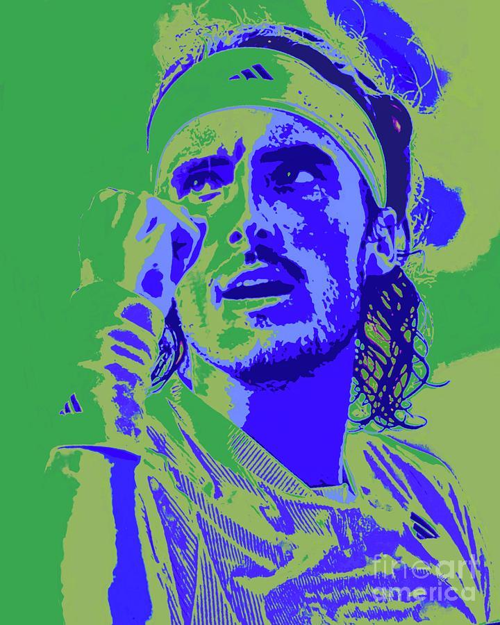 Stefanos Painting - Tsitsipas Closeup by Jack Bunds