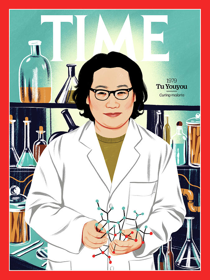Time Photograph - Tu Youyou, 1979 by Illustration by Bijou Karman for TIME