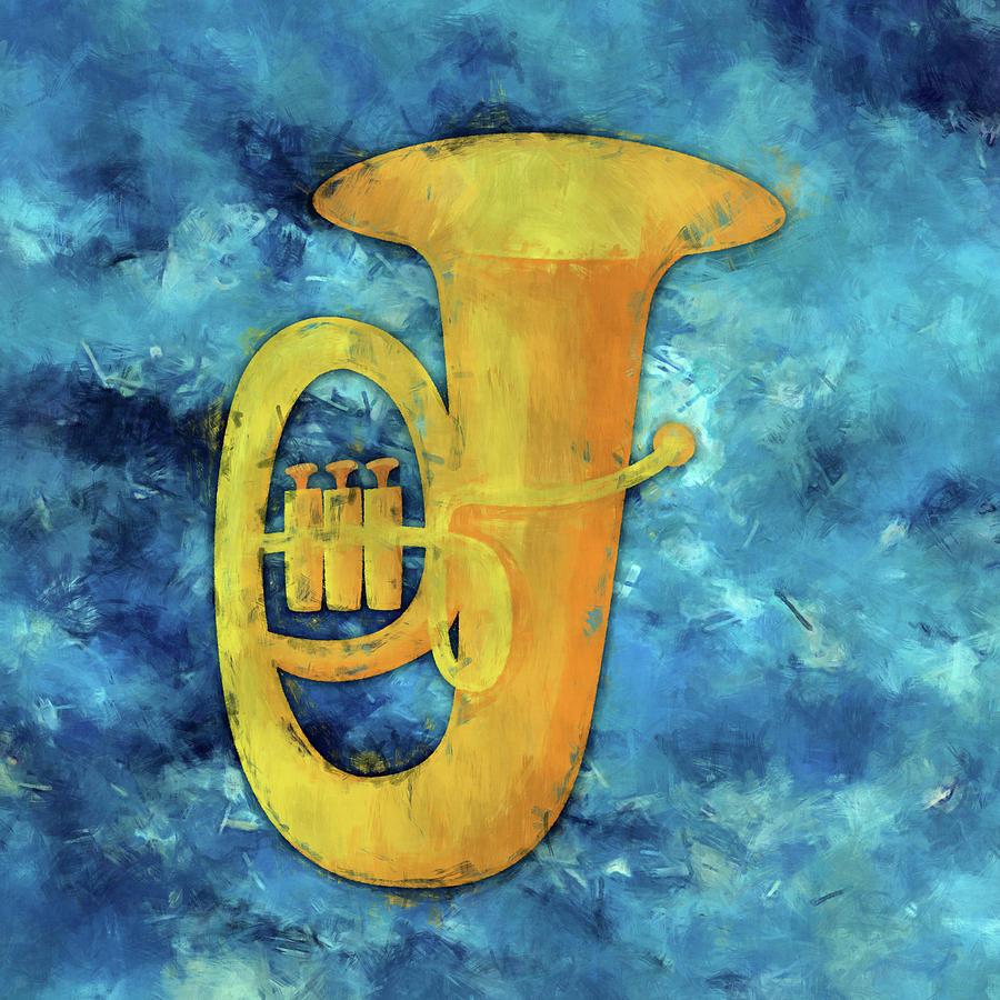 Tuba Digital Art - Tuba Blues by Flo Karp