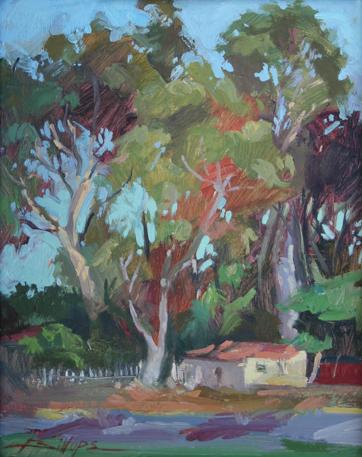 Tucked Away Catalina Island - Plein Air Painting by Betty Jean Billups