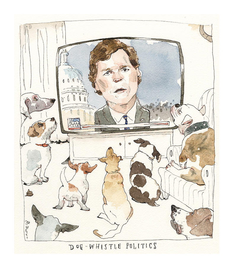 Tucker Carlson Goes to the Dogs Painting by Barry Blitt