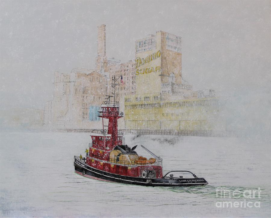 Tugboat Painting - Tugboat Linda Lee Bouchard on East River by Tim Malcolm Hughes