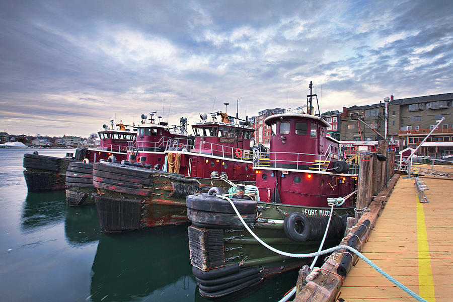 Tugboat Photograph - Tugboats at Dusk by Eric Gendron